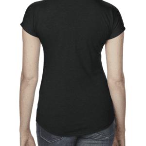T-shirt L-100 K lisse noir col en V